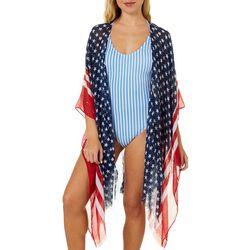 Americana Womens Stars Stripes Sequins Kimono