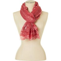 Womens Floral Print & Mesh Panel Scarf