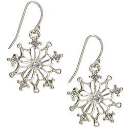 Brighten the Season Holiday Rhinestone Snowflake Earrings