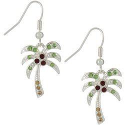 Brighten the Season Rhinestone Palm Tree Earrings