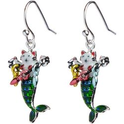 Brighten the Season Holiday Cat Mermaid Earrings