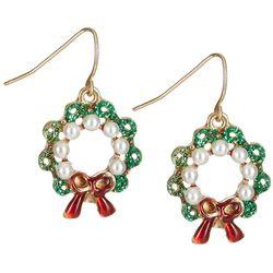 Brighten the Season Holiday Faux Pearls Wreath Earrings