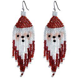 Brighten the Season Seed Bead Holiday Santa Earrings