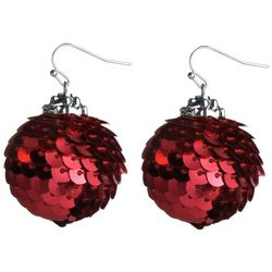 Brighten the Season Red Sequin Ornament Earrings