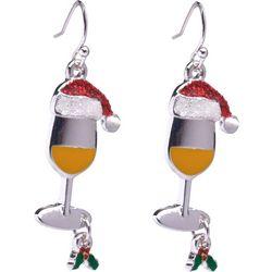 Brighten the Season Enamel Sanata Wine Glass Earrings