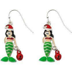 Brighten the Season Enamel Mermaid Jingle Bell Earrings