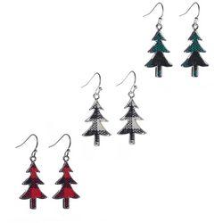 Brighten the Season 3-pc. Plaid Christmas Tree Earring Set