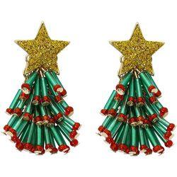 Brighten the Season Beaded Tree Earrings