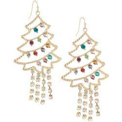 Brighten the Season Rhinestone Tree Dangle Earrings