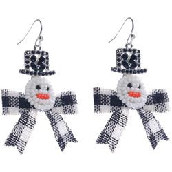 Brighten the Season Beaded Snowman With Plaid Bow Earrings