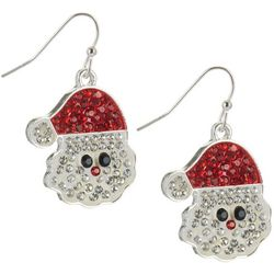 Brighten the Season Santa Face Rhinestone Earrings