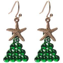 Brighten the Season Starfish Christmas Tree Earrings