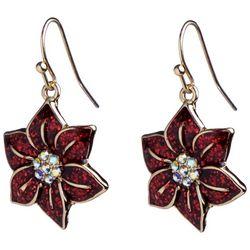 Brighten the Season Glitter Poinsettia Earrings