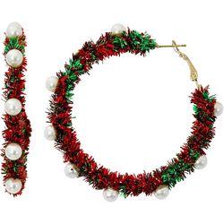 Brighten the Season Garland & Pearl Hoop Earrings