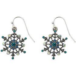 Brighten the Season Blue Rhinestone Snowflake Earrings