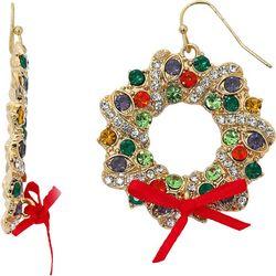 Brighten the Season Pave Rhinestone Wreath Earrings