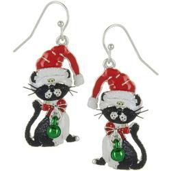 Santa Hat Cat Earrings