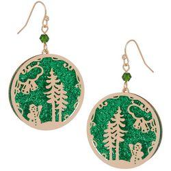 Brighten the Season Holiday Scene Glitter Ornament Earrings