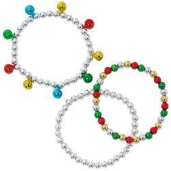 Brighten the Season 3-Pc. Bells & Beads Stretch Bracelet Set