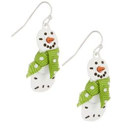 Brighten the Season Sand Dollar Snowman Holiday Earrings