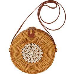Savanna Shell Round Wicker Handbag