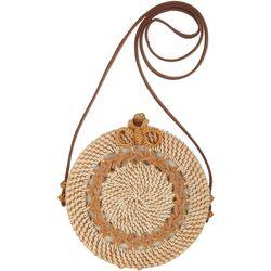 Savanna Two Tone Round Wicker Handbag