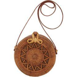 Savanna Two Tone Brown Round Wicker Handbag