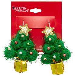 Brighten the Season Puffy Tree Earrings