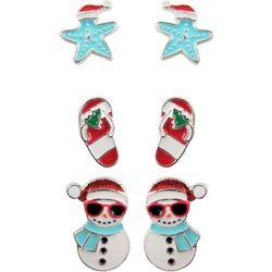 Brighten the Season 3-pc. Snowman Earring Set