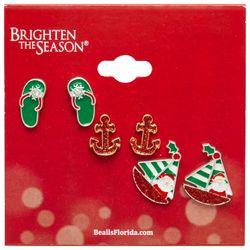 Brighten the Season 3-pc. Santa Boat Earring Set
