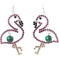 Brighten the Season Rhinestone Flamingo Earrings