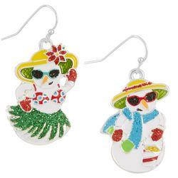 Brighten the Season Aloha Snowman & Snow woman Earrings
