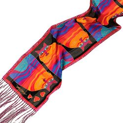Laurel Burch Womens Rainbow Cats Scarf