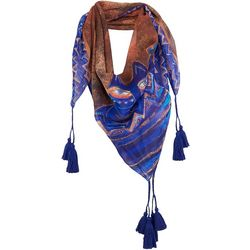 Laurel Burch Womens Azule Cat Tassel Scarf