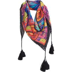 Laurel Burch Womens Whiskered Cats Tassel Scarf
