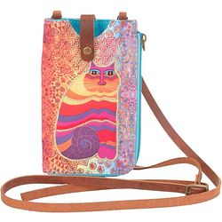 Laurel Burch Cat Fuchsia Pink Phone Crossbody Handbag
