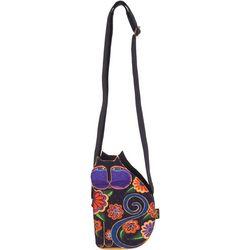 Laurel Burch Black Multi Cutout Cat Crossbody Handbag