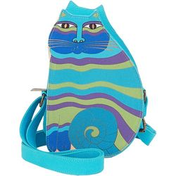 Laurel Burch Blue Multi Cutout Cat Crossbody Handbag