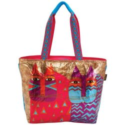 Laurel Burch Colorful Wild Cats Shoulder Tote Handbag