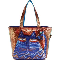 Laurel Burch Azule Cat Foil Shoulder Tote Handbag