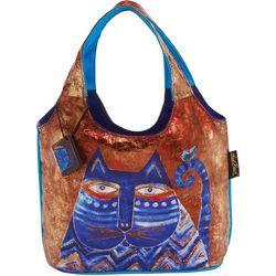 Laurel Burch Azule Cat Foil Scoop Tote Handbag