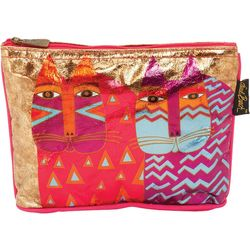 Laurel Burch Colorful Wild Cats Foiled Cosmetic Bag