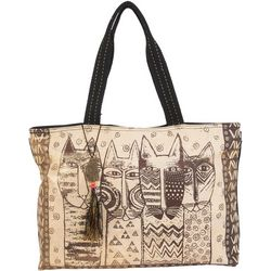 Laurel Burch Wild Cats Family Stamp Shoulder Tote Handbag