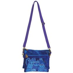 Laurel Burch Blue Cat Mini Crossbody Handbag