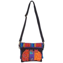 Laurel Burch Geometric Blue Cat Mini Crossbody Handbag