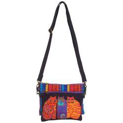 Laurel Burch Geometric Blue Cat Mini Crossbody Handbag