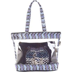 Laurel Burch Polka Dot Cats Clear Travel Tote Handbag