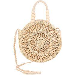 Sun N' Sand Round Corn Husk Straw Crossbody Handbag