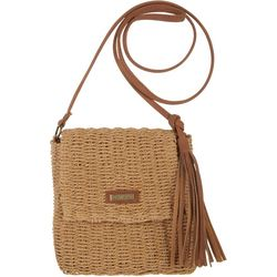 Sun N' Sand Flap Front Natural Straw Crossbody Handbag