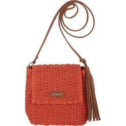 Sun N' Sand Flap Front Natural Straw Crossbody Handbag